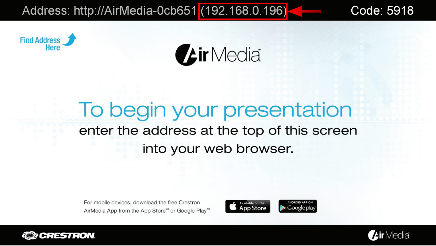 Image of Air Media Welcome screen with the IP address indicated