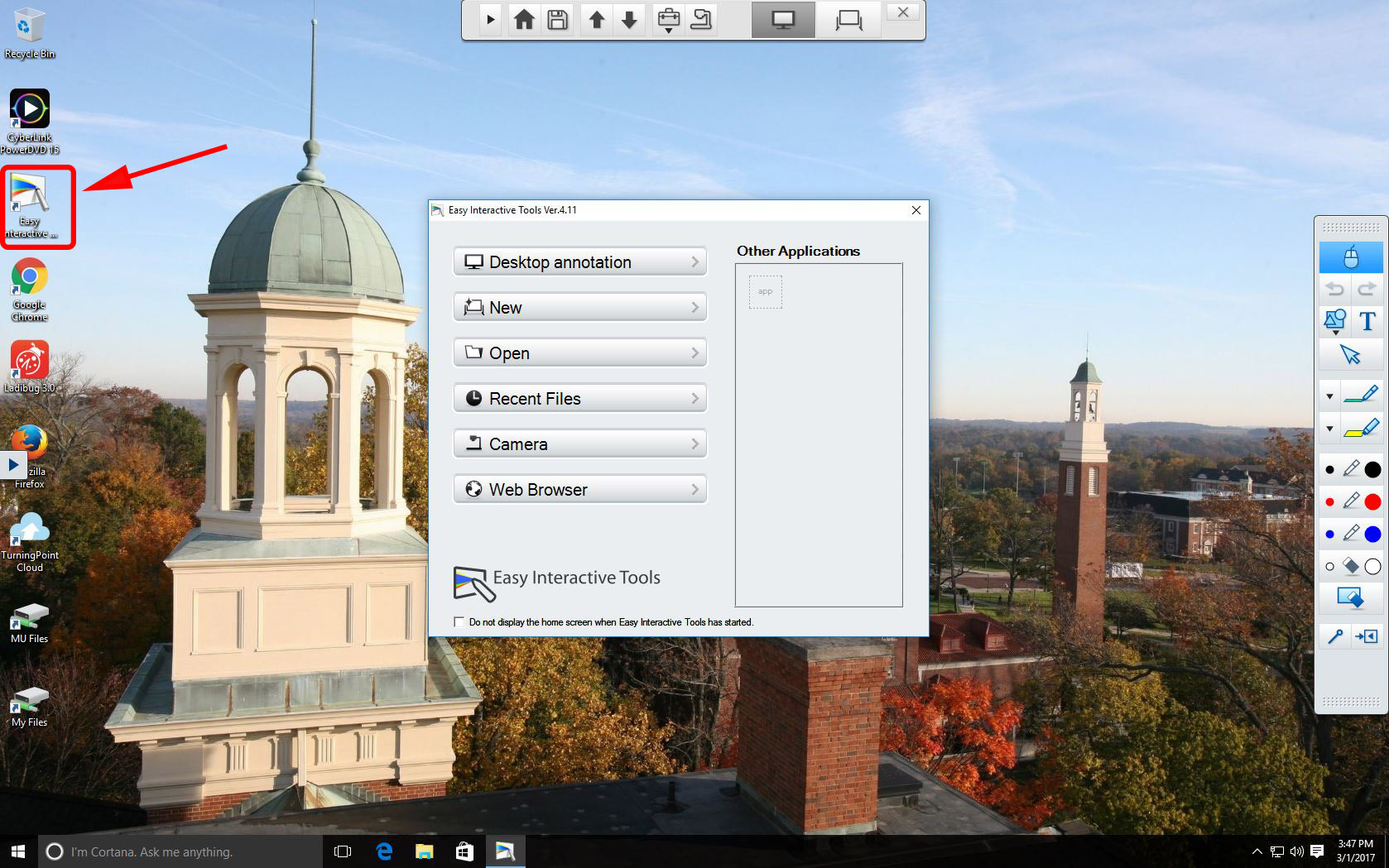 image of computer desktop with launch icon for Easy Tools software indicated