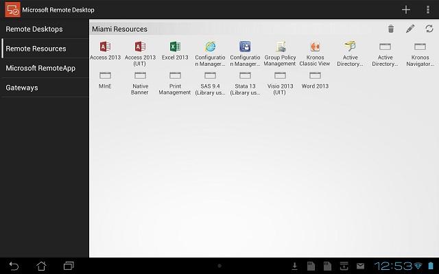 Display of Miami resources in Microsoft Remote Desktop