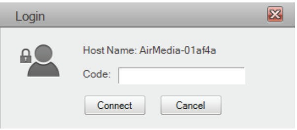 image of Air Media Login box indicating prompt for code entry