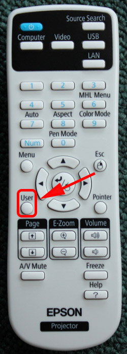 image of short throw projector remote with the user button indicated