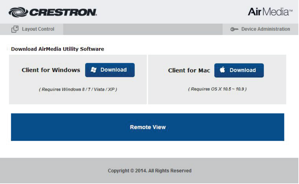Image of Air Media website for downloading appropriate control application