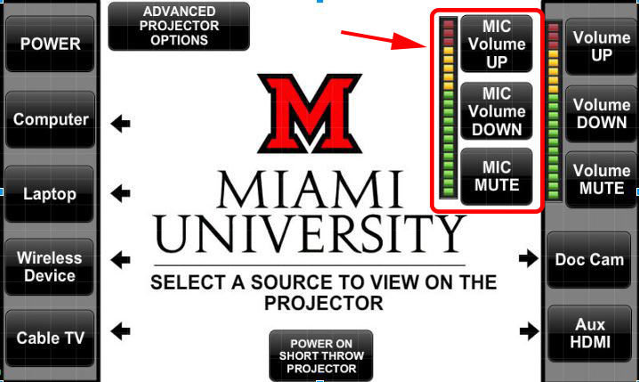 image of touch panel with the microphone volume controls indicated
