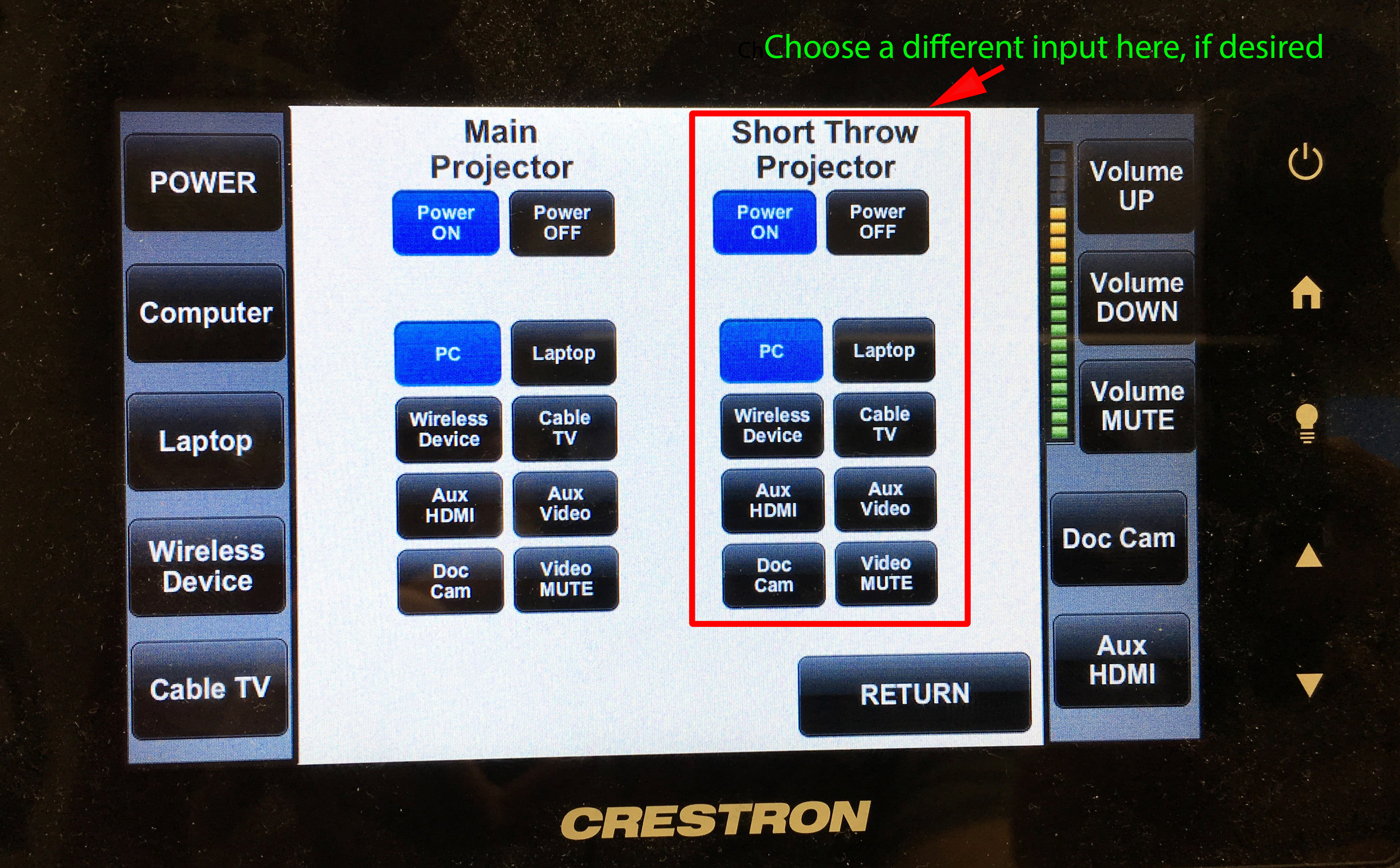 image of advanced projector options, with the short throw projector options indicated